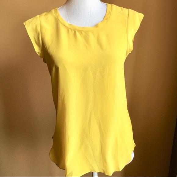 a5e4b3b27fb50 Joe Fresh Tops - Silk Joe Fresh Mustard yellow cap sleeve blouse